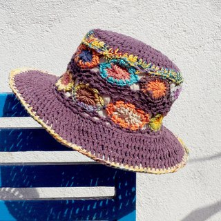 Valentine's Day gift limited to a hand-woven cotton hood / weaving hat / fisherman hat / straw hat / sun hat / hook hat - violet forest flower weaving