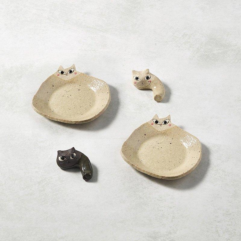 有種創意 - 日本美濃燒 - 陶製手作筷架 -  貓貓樂園四件組