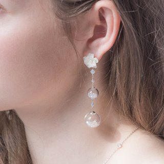 POM POM Peony 3-Tiered Crystal Globe 925 Silver Earrings