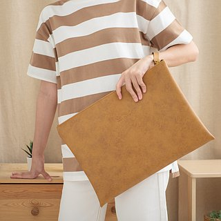 PVC Leather Clutch Bag (TAN)