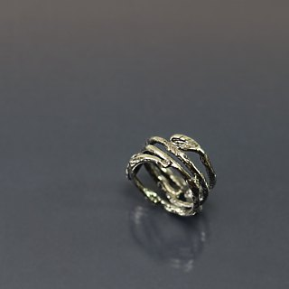 Branch leaflet 925 silver ring