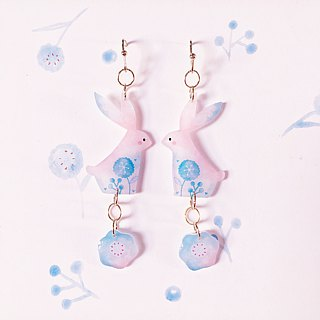 A pair of auricular Earrings without ear hole ears in rabbits