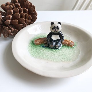 Lazy panda- Handmake Ceramic and glass Jewellery plate