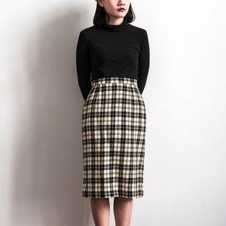 Vintage beige plaid vintage wool skirt