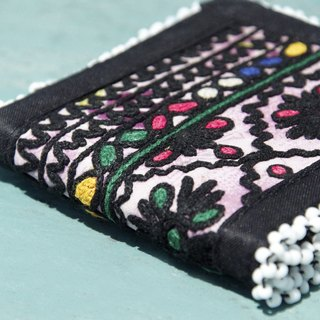 Limited edition handmade embroidery ancient cloth wallet / national wind short clip / embroidery short clip / hand embroidery wallet / folk wind handbag / embroidery bag - bright flowers desert embroidery old cloth