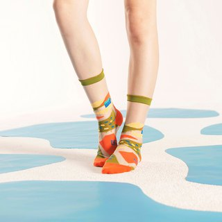 Wild Fields Olive Sheer Socks | transparent see-through socks | colorful socks
