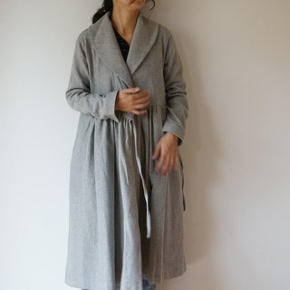 Wool cotton linen robe coat