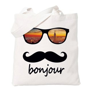French bonjour-New York New York Hello Wen Qing simple fresh original literary canvas shoulder bag green shopping bags - beige