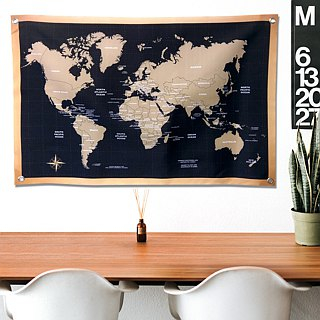 World map hanging wall niches retro black tide