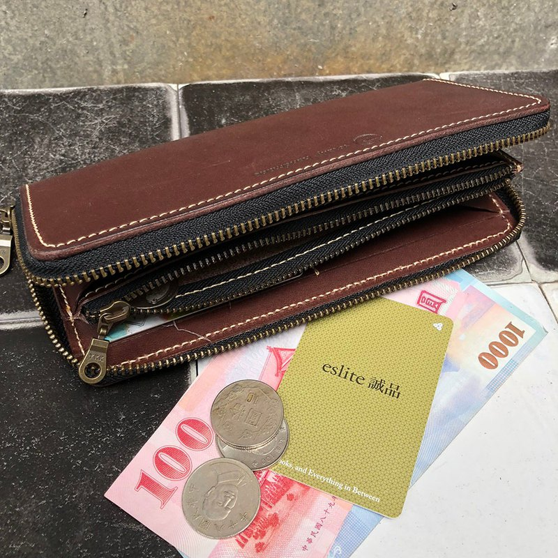 Zipper wallet wallet, wallet, change ok-made of vegetable tanned cow leather-Color dark coffee