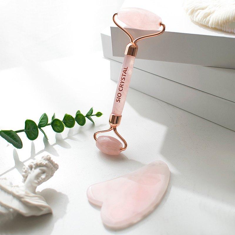 天然粉水晶按摩禮盒組-按摩滾輪+刮痧板-情人節限定