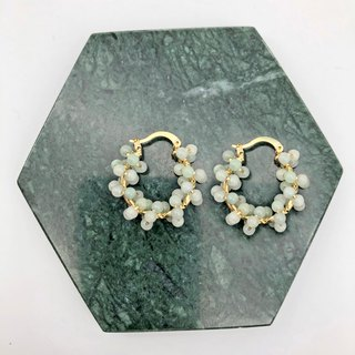 Jade 14kgf Silver Earrings 【Natural Stones】 【White Earrings】 【Gift】
