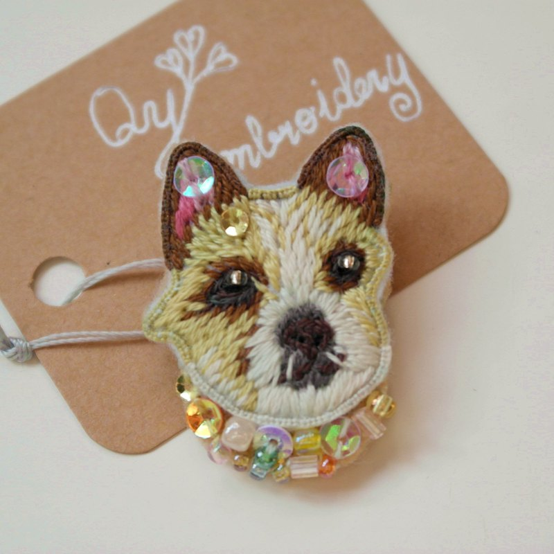Qy's dogs Portuguese beagle hand embroidery brooch pin gift