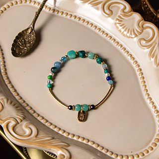 <Slow-tempered natural stone series>C1146-3 blue-green heart-throat brass bracelet