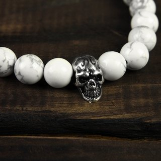【METALIZE】Skulls 8MM Beaded Bracelet 骷髏8MM串珠手鍊-白松石/古銀