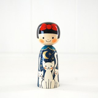 Kokeshi doll / Red ribbon girl and White cats