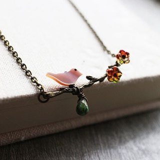 Perched on a tree branch bird necklace