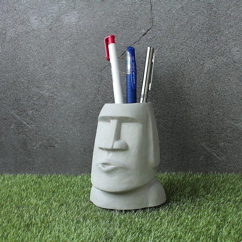 水泥摩艾 Moai-嘘嘘摩艾 Q版摩艾 摩艾筆筒 多肉植物盆 辦公小物