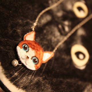 Embroidery orange cat with sterling silver bell 925 sterling silver necklace 925 silver necklace with cat + 925 silver bell