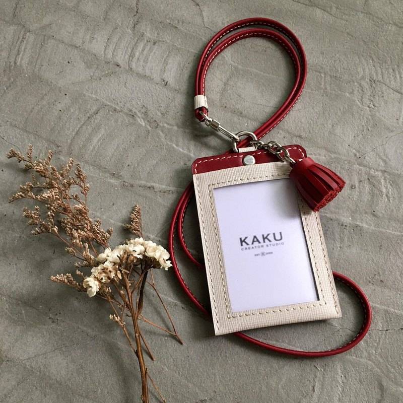 KAKU leather design customized identification card holder white cross pattern + deep red small tassel