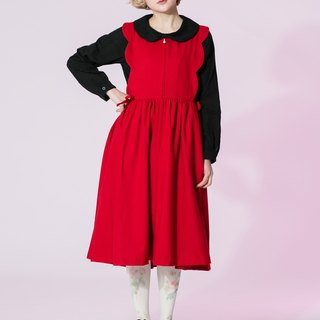 : EMPHASIZE pearl petals side zipper waist straps Vest Dress - red