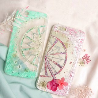 Pressed Flower Ferris Wheels Matching Phone Case | Pink