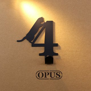 [OPUS Dongqi Metalworking] When the cat meets the number 4 - hook (black) / wall hanging hook / storage without trace