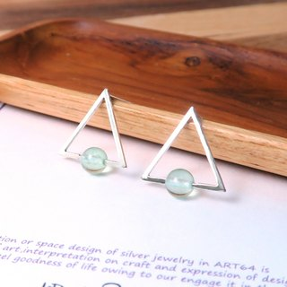 Green Fluorite Triangle Stud Earrings - 925 Sterling Silver Natural Stone Earrings