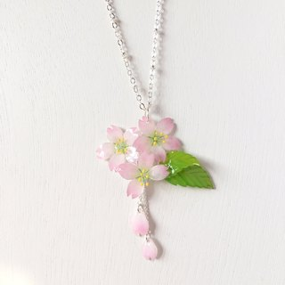Sakura Limited Edition Elegant Pink Cherry blossoms Flower petal and leaf neckl