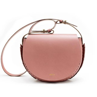 [ADOLE] laurel weave - leather cross-body bag - smoked pink