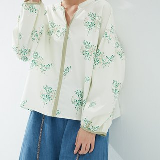 Y1,hsuan X Redwood exclusive printed cloth series small V-neck sleeves shirt