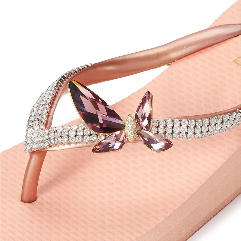 女款3cm厚底夾腳拖鞋-頂級首飾工藝水鑽-酒紅蝴蝶 粉金