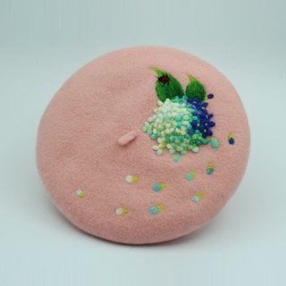 Handmade customized wool felt needled beret ( Item as picture shown)——Pink