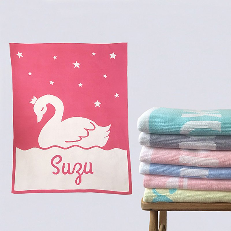 Baby blanket with name Swan regular size 90x120cm