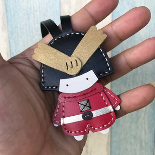 Leatherprince Handmade Leather Taiwan MIT Red Cute Japanese Samurai Handmade Leather Charm Small Size small size