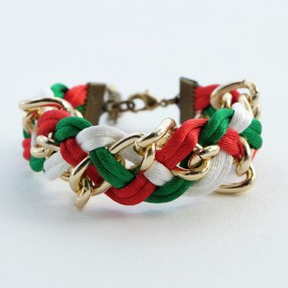 Christmas gift collection , Red/White/Green braided bracelet with chain