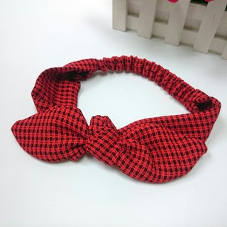 Plaid rabbit ear hair bands*SK*