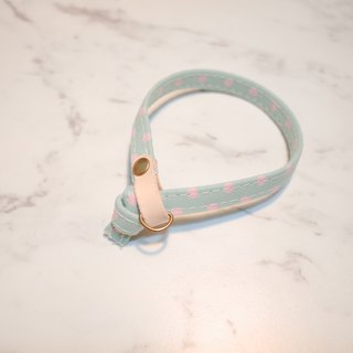 Cat collar, apple green, pink dots_CCJ090101