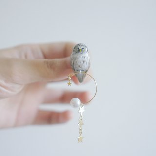 |Unicorn Forest | Brown Wood-owl Long-tailed Forest 鸮 Single Ear/Ear clip/Pin