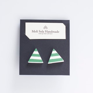 Hand made triangular clay stud earrings green stripes