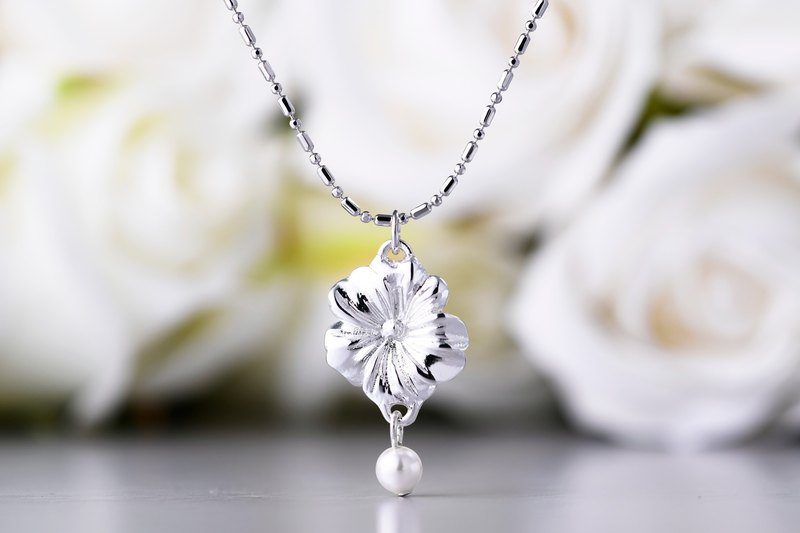 Flower Series Engraved Cosmos Necklace Pearl (NLAJA0992N)