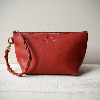 "【Order Production (Delivery time approx. 10 days)】 JAPAN Leather * Nume leather clutch pouch ""barco"" M (terra cotta)"