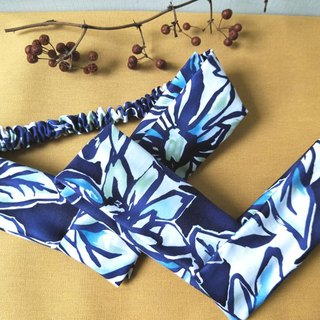 Cross hair band - fine elastic - Kali blue
