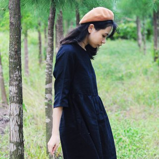 Linen black loose five-point sleeves dress can be worn in all seasons