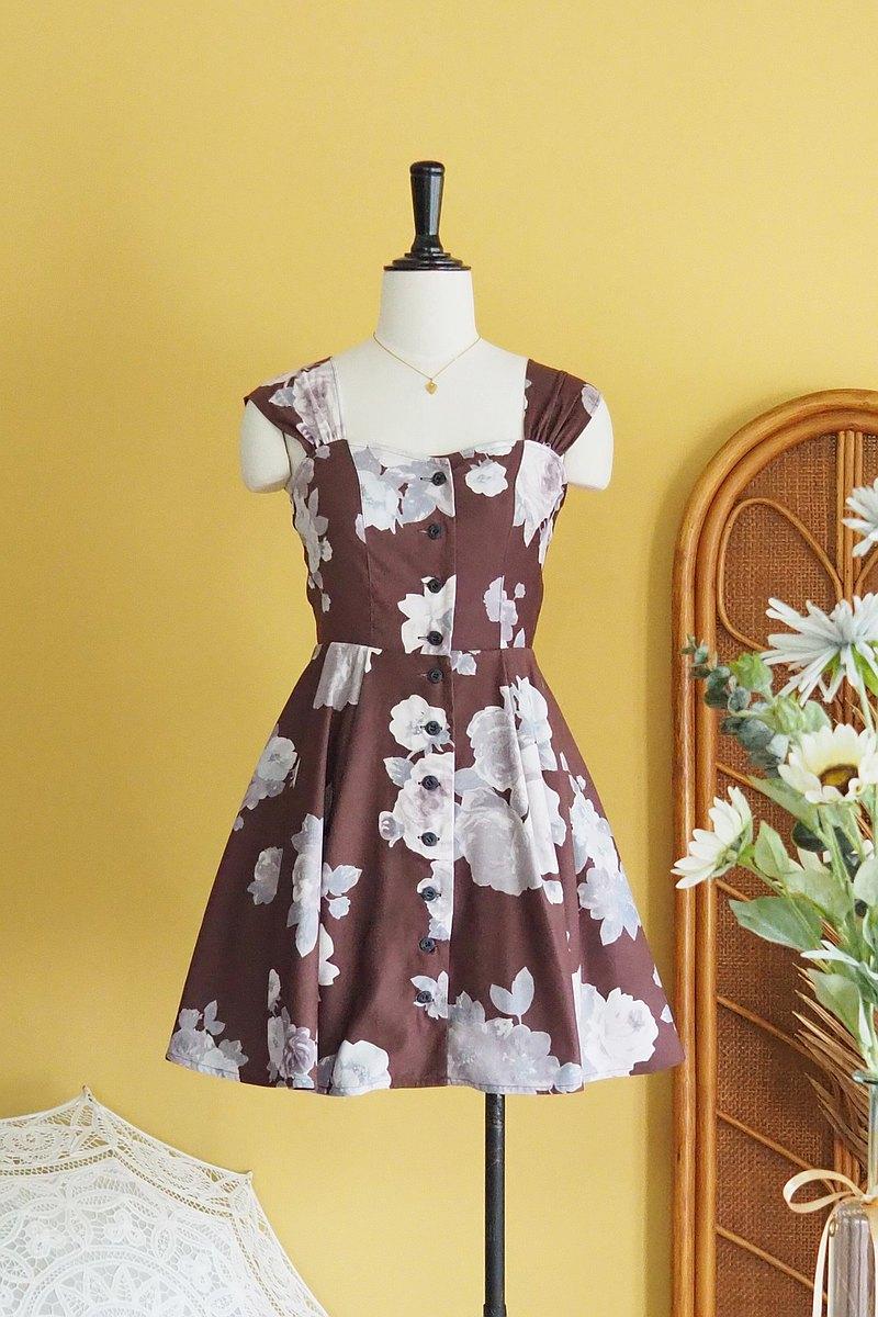 古著洋裝 | Size M | Brown with Rose pattern flare skirt
