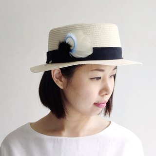 Summer Clear Sky - Blue White Feather Mink Ball Breasted Hat Multipurpose