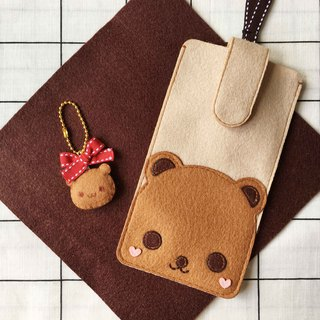 Teddy bear iphone case with strap and keychain