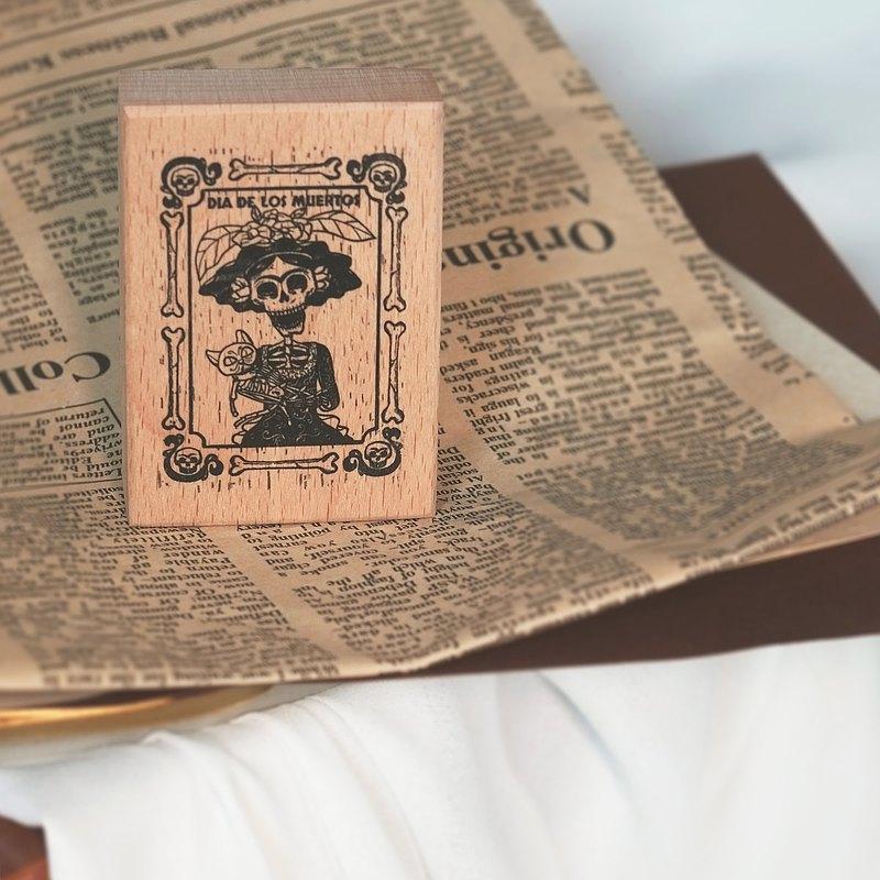 【弗裡達與貓】in1制物 原創手賬印章 櫸木樹脂印章 含禮物包裝