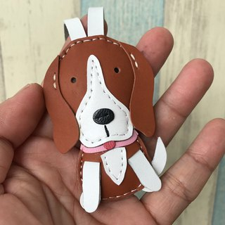 Leatherprince Handmade Leather Taiwan MIT Coffee/White Cute Mikro Dog Hand-sewn Leather Charm Small size small size