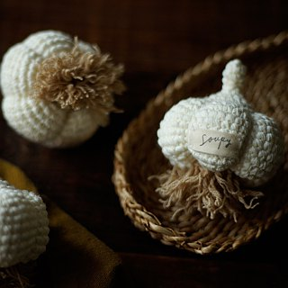 Hand-knit cotton and garlic